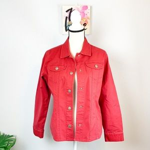 Chico's red jean jacket